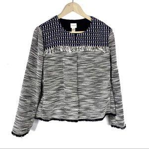 Chico's Navy Blue Fringe Tweed Jacket Blazer